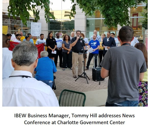 IBEW Business Manager Tommy Hill addresses News Conference at Charlotte Government Center