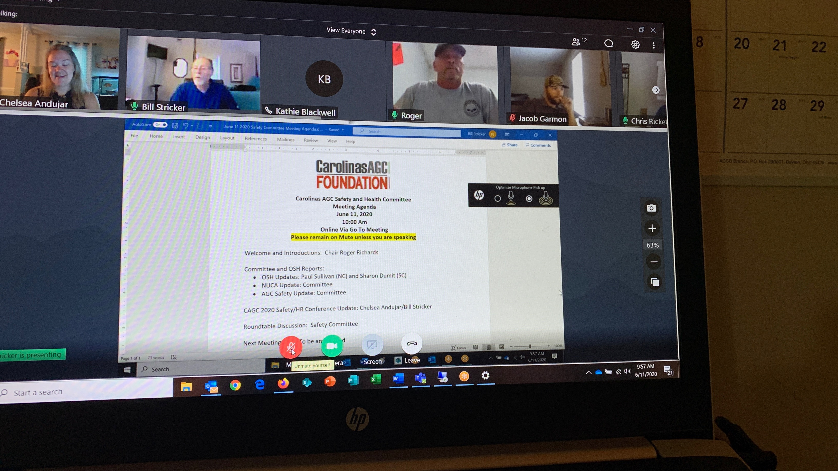June 2020 Virtual Safety Committee Meeting