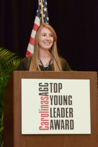 Kristen Harwood Receiving the Top Young Leader Award